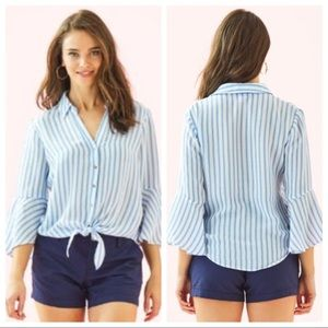 Lilly Pulitzer Blue Stripe Lysa Tie Front Top